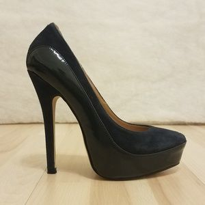 Boston Proper navy blue platform pump heels